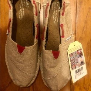 Toms Linen classic slide ons